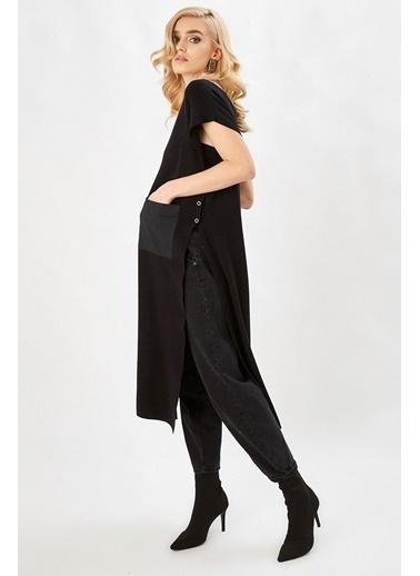 Peraluna Peraluna Siyah Renk V Yaka Yandan Düğmeli Uzun Kadın Triko Tunik Siyah